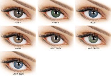 Οι φακοί επαφής Adore Tri-tone διατίθενται σε 7 χρωματισμούς: Blue, Light Blue, Hazel, Gray, Light Gray, Green, Light Green, Hazel.